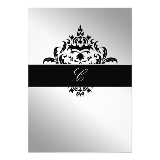 311-Simplisticly Elegant Damask Silver Personalized Announcement
