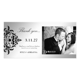 311-Simplisticly Elegant Damask Silver Thank You Customized Photo Card