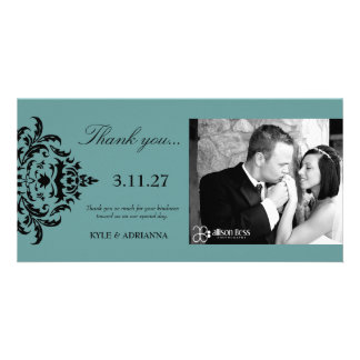 311-Simplisticly Elegant Damask Thank You Customized Photo Card