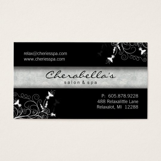 311 Spa Salon Elegant Black & White Business