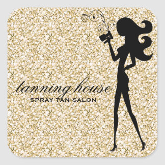 311 Spray Tan Fashionista Silhouette Faux Gold Square Sticker