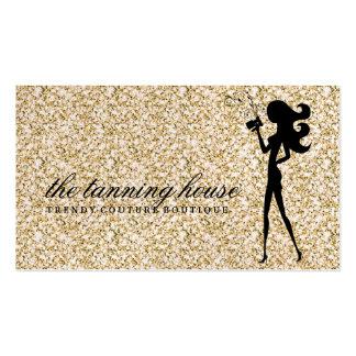 311 Spray Tan Fashionista Silhouette Gold Sparkle Business Card Templates