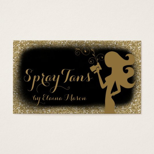 311 Spray Tan Girl Gold Glitter Black Business Card