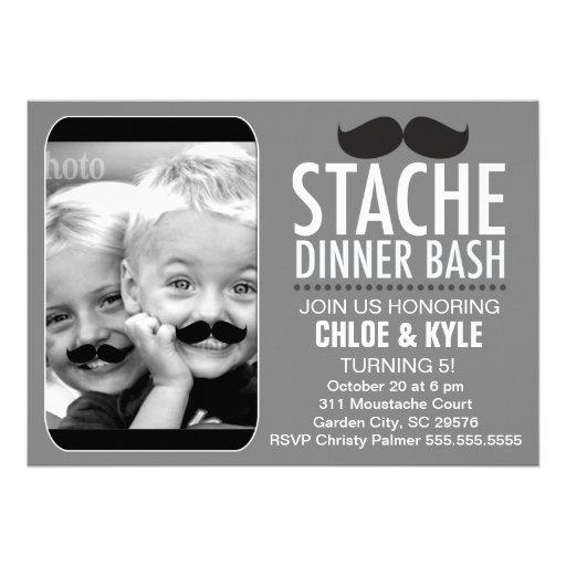311 Stache Dinner Bash Interactive Moustache Custom Invite
