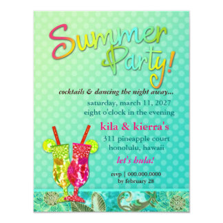 311 Summer Party Cocktails Turquoise 11 Cm X 14 Cm Invitation Card