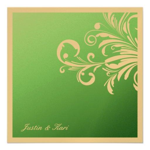 311-Swanky Swirls Golden Mint Delight Invites