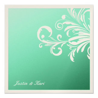 311-Swanky Swirls Golden Mint Delight 13 Cm X 13 Cm Square Invitation Card