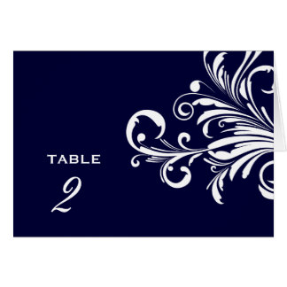 311-Swanky Swirls Table Numbers Navy Blue Greeting Card