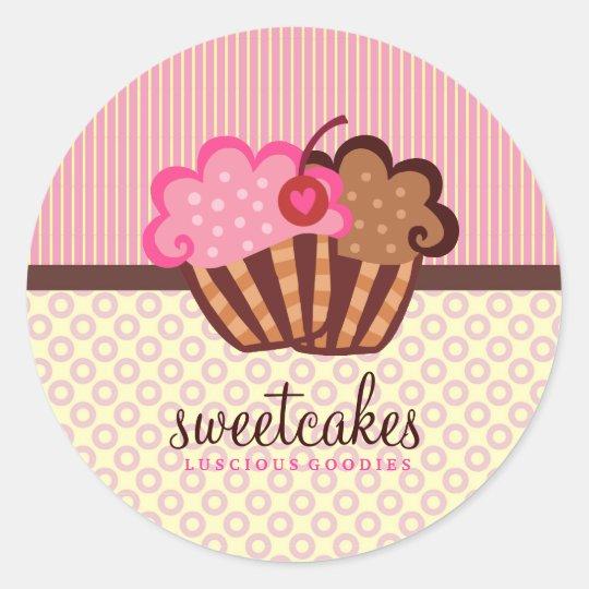 311 Sweet Cakes Cupcake Dots n Stripes Round