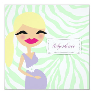 311-Sweet Pregnant Mommy Zebra - Blond 13 Cm X 13 Cm Square Invitation Card