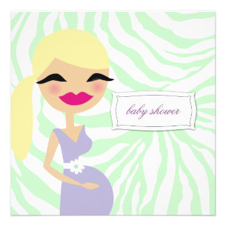 311-Sweet Pregnant Mommy Zebra - Blond Personalized Invitation