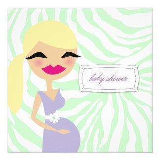 311-Sweet Pregnant Mommy Zebra - Blond Personalized Invitation