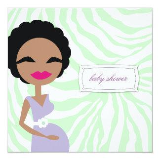311-Sweet Pregnant Mommy Zebra - Ethnic 13 Cm X 13 Cm Square Invitation Card