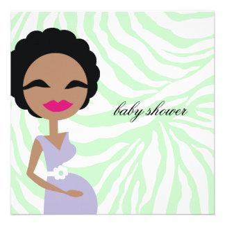 311-Sweet Pregnant Mommy Zebra - Ethnic Custom Invite