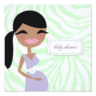 311-Sweet Pregnant Mommy Zebra - Ethnic Long Hair 13 Cm X 13 Cm Square Invitation Card