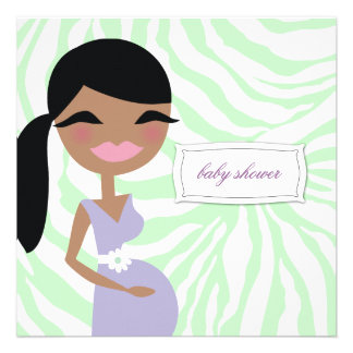 311-Sweet Pregnant Mommy Zebra - Ethnic Long Hair Personalized Invitations