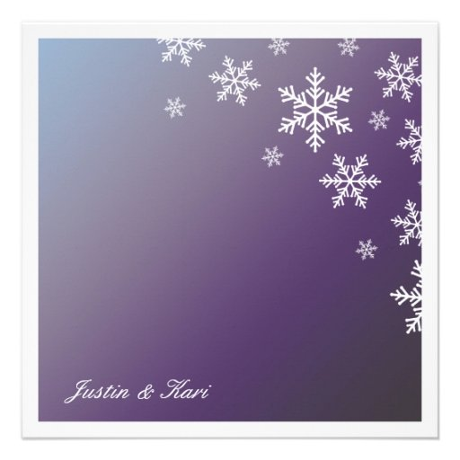 311-Sweet Snowflake Hydrangea Metallic Custom Announcements