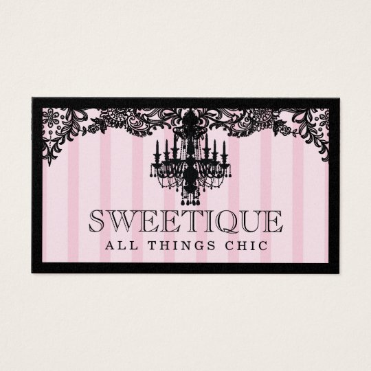 311 Sweetique Pink Stripes & Lace Chandelier Business Card