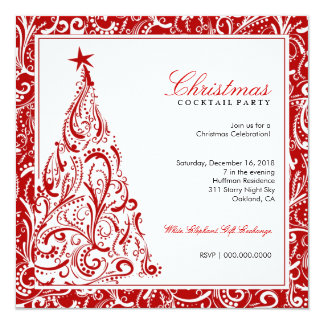 311-Swirly Colorful Christmas Tree | Red 13 Cm X 13 Cm Square Invitation Card
