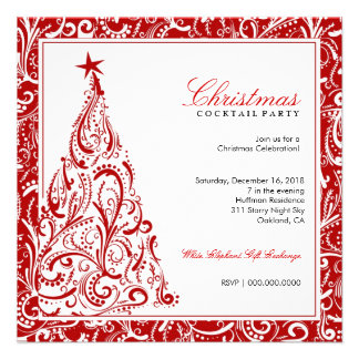 311-Swirly Colorful Christmas Tree Red Invitations