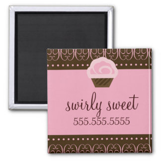 311 Swirly Pink Brown Square Magnet
