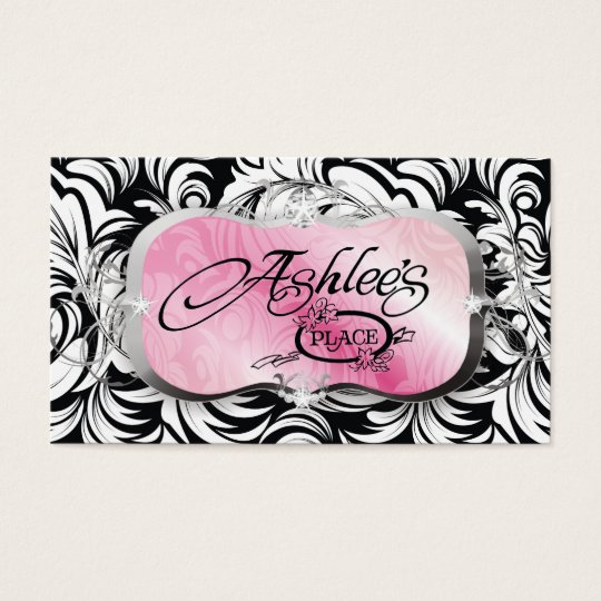 311-The Lavish Pink Plate | Black Business Card