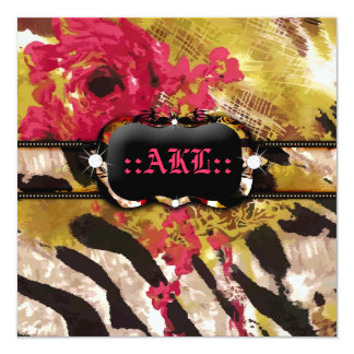 311-Tigress / Zebra Rose Bachelorette 13 Cm X 13 Cm Square Invitation Card
