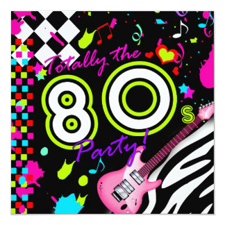 311-Totally the 80s Party - Pink Guitar 13 Cm X 13 Cm Square Invitation Card