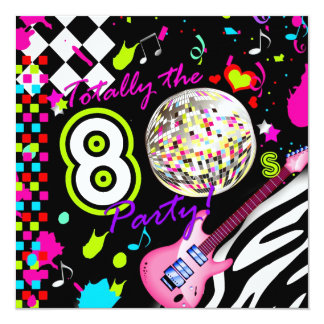 311 Totally the 80s Party Pink Guitar Disco Ball 13 Cm X 13 Cm Square Invitation Card