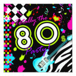 311 Totally the 80s Party - Turquoise Guitar Invitations