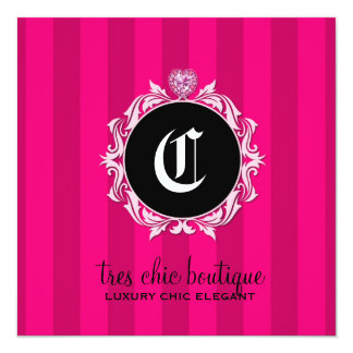 311 Tres Chic Pink Stripes Gift Certificate 13 Cm X 13 Cm Square Invitation Card
