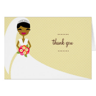 311-UPDO BRIDE THANK YOU AFRICAN AMERICAN GREETING CARD