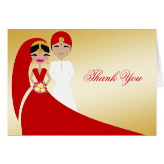 311 Updo Indian Bride & Groom Thank You Note Card