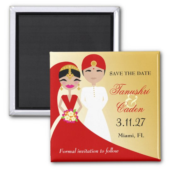 311-Updo Indian Bride with Groom Square Magnet
