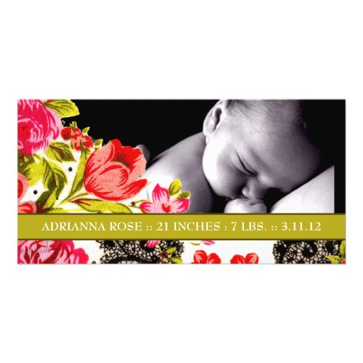 311-VIBRANT GARDEN BABY ANNOUNCEMENT PHOTO CARD