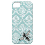 311 Vintage Blue Damask Bee Hornet iPhone Cover iPhone 5 Case