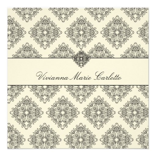 311-Vivianna Cream & Black Damask Invitation