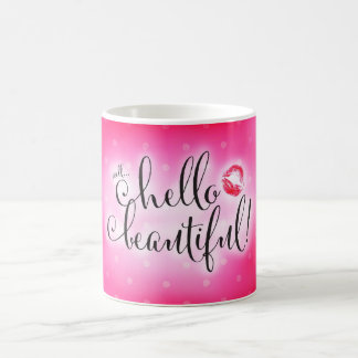 311 Well Hello Beautiful Pink with Lips Coffee Mug