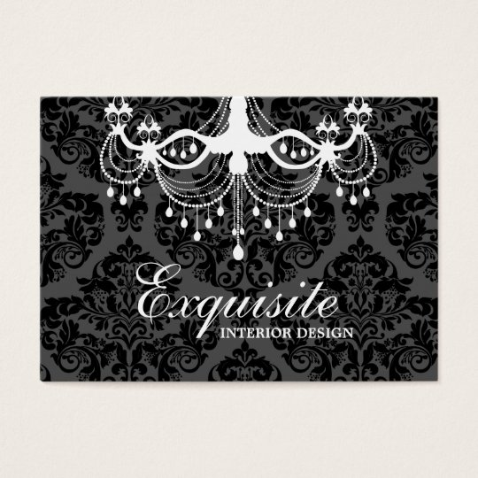311 White Chandelier Damask Business Card