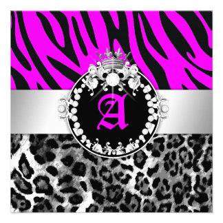 311 Zebra-LeoTique Diamonds Kisses Neon Pink Personalized Invite