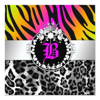 311 Zebra-LeoTique Diamonds Kisses Neon Trio 13 Cm X 13 Cm Square Invitation Card