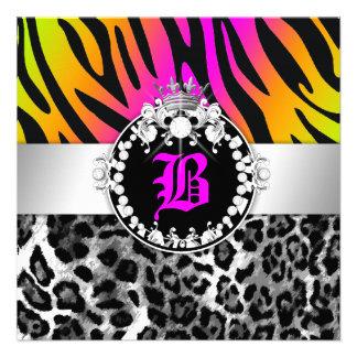 311 Zebra-LeoTique Diamonds Kisses Neon Trio Personalized Invitation