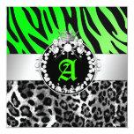 311-Zebra-LeoTique Diamonds n' Kisses Sweet 16 5.25x5.25 Square Paper Invitation Card