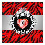 """311 Zebra Tique Kiss Queen of Hearts Sweet16 5.25"""" Square Invitation Card"""