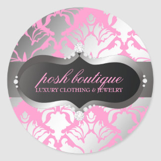 311 Zeopard Sign meets Damask Shimmer Posh Pink Classic Round Sticker