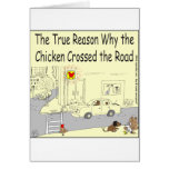 315 Why chicken crossed the road cartoon Greeting Card
