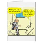 316 Belt in jail cartoon Greeting Card