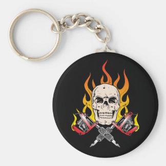 318 Flaming Skull Tattoo Basic Round Button Key Ring