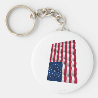 31-star flag, Double Medallion pattern Basic Round Button Key Ring