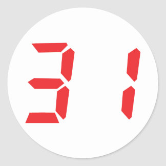 31 thirty-one red alarm clock digital number classic round sticker